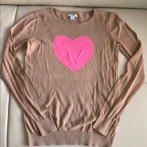 Size S khaki long sleeve w/pink heart